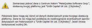 Ostrzeżenie MetaQuotes przed pobraniem danych z Centrum Historii